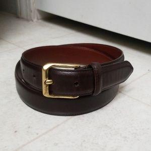 COACH dark brown leather belt burnished cowhide